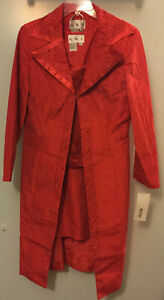 NWT $179 3 Pieces Duster Skirt Tank Rhinestones SIZE 14 Red Show Off Your Boots