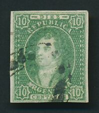 ARGENTINA STAMP 1864 Sc #9 10c RIVADEVIA GREEN IMPERF, LOVELY USED $1350