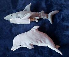 "Lot 2 Pair Folkmanis Full Body Hand Puppet Plush Dolphin & Shark 18"""