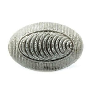 Antique Victorian Czech silver painted ribbed oval black art glass button