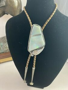 Sterling Silver Navajo Opal Bolo with Shell Marks Beautiful!