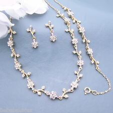 FOUR Necklace Sets w Bracelet Bridal Wedding Bridesmaid Crystal Jewelry GOLD Gp