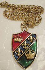 Vintage Crown Trifari Shield Coat of Arms Fleur De Lis Gold Tone Enamel Necklace