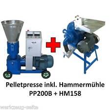 Pelletpresse u. Hammermühle Set - Pellet Press Hammer Mill 7,5 u 2,2 kW je 380 V