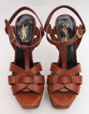 YSL Yves Saint Laurent 'Tribute' Brown Platform Sandals Heels Pumps Sz 37.5
