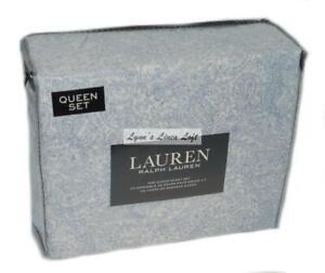 RALPH LAUREN Queen Sheet Set 4P FRENCH BLUE PAISLEY New Cotton