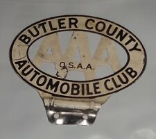 HTF AAA Butler County OHIO O.S.A.A. Automobile Club License Plate Topper Hot Rod