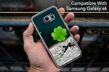 Quatre feuille trèfle porte-bonheur clair hard case fits Samsung Galaxy S6