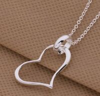 925 Sterling Silver HEART Pendant Charm Necklace Chain Stunning Jewelry Gift