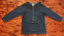 90s Denim Hoodie Pull Over with Metal Zip and Pouch Pocket Size Small