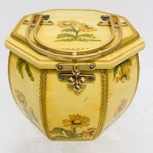 Vintage Hand Made Octagonal Wood Box Purse-Decoupaged Flowers T14