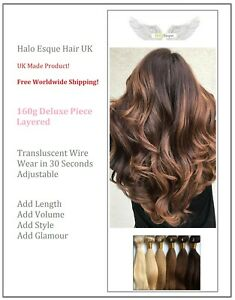 Halo Esque Hair Extensions Deluxe 160g Secret Wire - UK Made - Layered