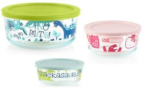 6-pc Pyrex Dinosaur Storage Set with lids 7/4/2 Cup BOWLS Sold Out