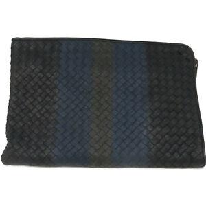 Bottega Veneta BV Clutch Bag Intrecciato Leather Black Blue 0054