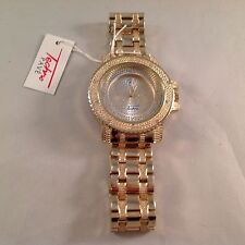 Techno Pave 6191 Mens Diamond Accented Goldtone Watch   NEW