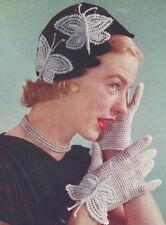 Vintage Crochet PATTERN Butterfly Motif Gloves Applique