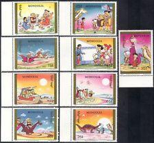 Mongolia 1991 Picapiedra/Dinosaurios/Caricaturas/libros/TV/películas/animación 9v b1229