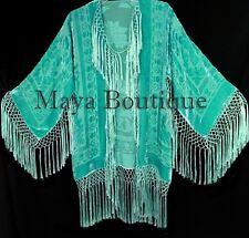 Maya Matazaro Silk Burnout Velvet Fringe Jacket Short Kimono Tiffany Mint