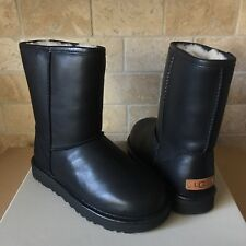 UGG Classic Short Cashmere Black Water-resistant Leather Fur Boots Size 10 Women