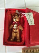 Rare Limited Ed.2014 Glass Teddy Bear Ornament With Swarovski Elements And Cameo