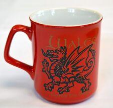 WALES, LAND OF THE DRAGON design RED MUG with dragon motif , Cymru, Welsh