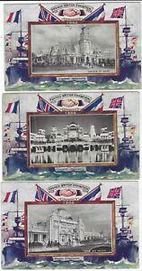 1908 Franco British Exhibition Entente Permanate Oilette cards x 7