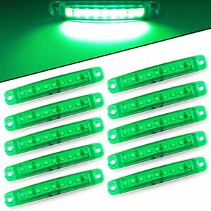 10X Green 9 LED Sealed Side Marker Clearance Light For Truck Trailer Lorry Bus