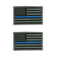 2Pc Pack Thin Blue Line Police Law Enforcement Flag Embroidered Iron On Patch
