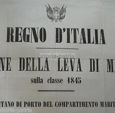 PUGLIA_MARINERIA_MARE_ARALDICA_REGNO D'ITALIA_DECORATIVO GRANDE MANIFESTO_1866