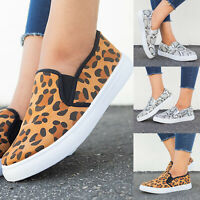Womens Leopard Plimsolls Flat Loafers Pumps Ladies Casual Slip On Sneakers Shoes