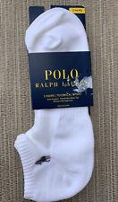 Polo Ralph Lauren Men's Socks 2-Pair Low Cut Socks White Logo Size 10-13 New