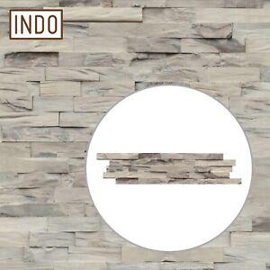 INDO Holz Wandverkleidung Wandverblendung Beachwood Hevea Sun Bleached 1 m²