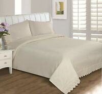 Eyelet Lace Cotton 400 Thread Count Bedding Sheet Set, Wrinkle Free Super Soft
