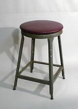 Vintage Industrial Leather Top Industrial Machine Age Stool Usa