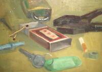 Vintage impressionist oil painting still life