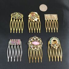 Lot of 6 handmade haircombs adorned with vintage jewelry