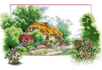 14 count aida needlepoint cross stitch landscape kit with colorful chart J067