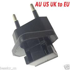 AU US UK to EU AC Power Plug Travel Adapter Outlet Converter Socket Black