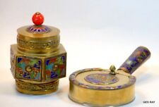 Cloisonne Bronze Brass Flowers Antique Silent Butler Crumb Catcher Ashtray Set