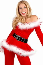 Women's Red Miss Santa Christmas Fancy Dress Costume White Fur Sparkly Trim