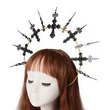 Gothic Fancy Dress Party Black Cross Spike Headband Party Costume Headwear