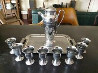 Antique CHROME COCKTAIL MARTINI SHAKER  SET ART DECO  CORDIAL GLASSES DRINK TRAY