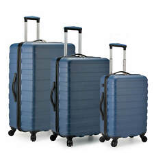 U.S. Traveler Bondi 3-Piece Spinner Luggage Set with USB Smart Carry-On In Navy