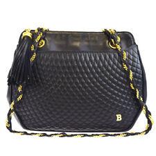 Authentic BALLY Logos Fringe Shoulder Bag Leather Black Gold-tone Italy 01EK757