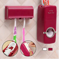 Automatic Squeezer Toothpaste Dispenser 5 Toothbrush Holder Set Wall Mount Stand