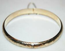 GOLD OVER 925 STERLING SILVER BANGLE BRACELET W/ SAFETY CHAIN 7.25 IN 8.8 GR BA1