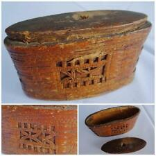 Antique Snuff Box Birch Bark Folk Art Chip Carved Wood 18th Century Tobacco