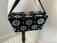 1950s Black Box Purse Beaded Flowers Envelope Top Closure Handbag Excellent
