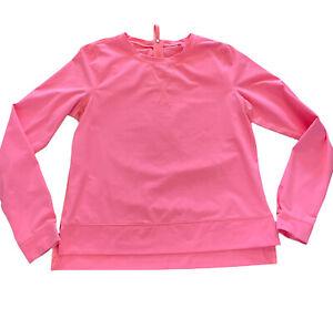 Lululemon Coral long sleeve athletic Top Shirt Zipper In Back Sz 8 EUC