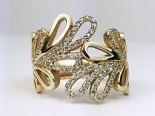 Design Wide Big Right Hand Ring 14K Yellow Gold Round Diamond Leaf